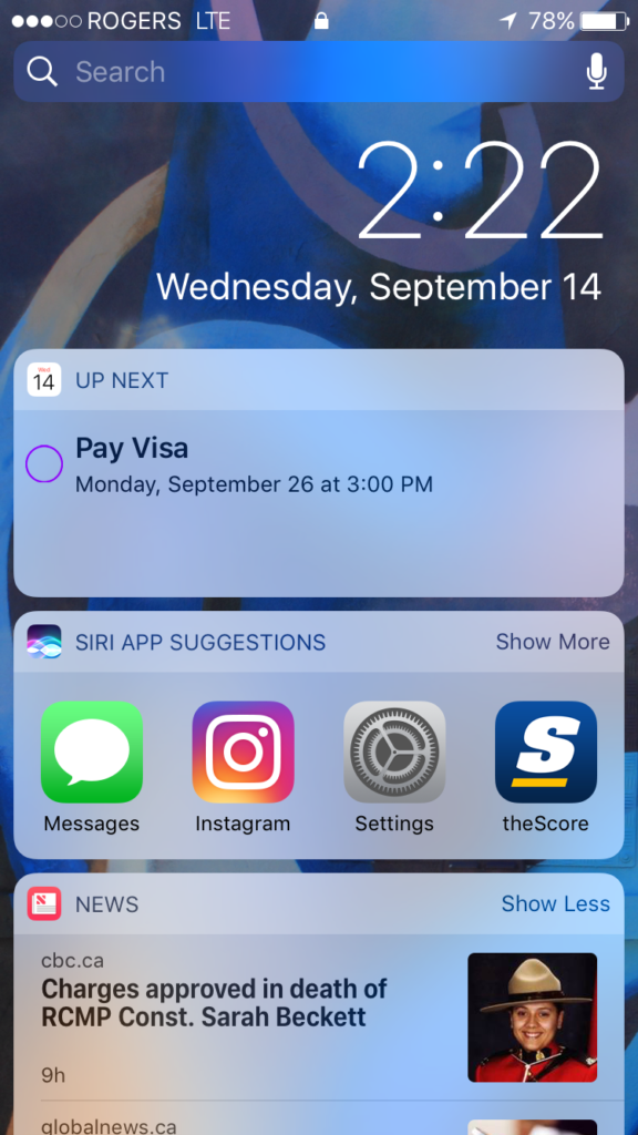 The widget panel, as seen from the locked home screen
