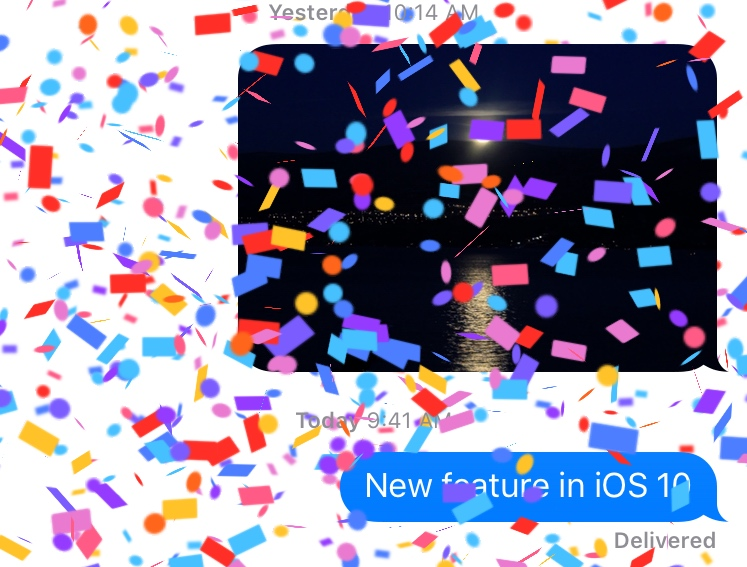 iOS 10 Messages Confetti